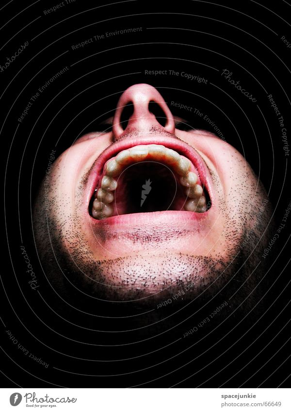 Human being Man Black Face Dark Fear Crazy Force Scream Evil Freak Alarming Show your teeth