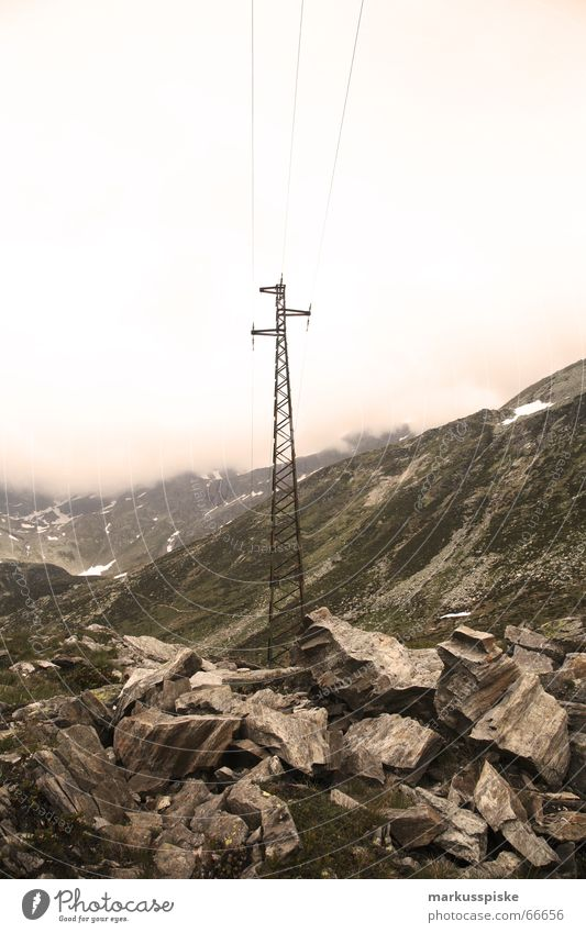 Sky Green Clouds Snow Meadow Mountain Lake Rock Electricity Switzerland Italy Alps Turquoise Transmission lines Electricity pylon Alpine