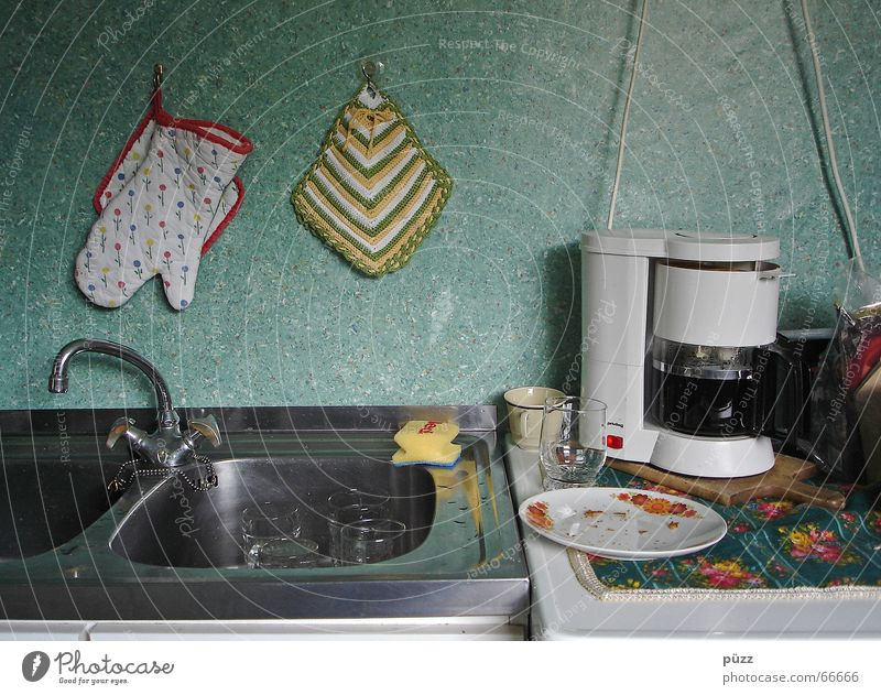 Dirty Flat (apartment) Glass Poverty Coffee Kitchen Simple Living or residing Crockery Cup Plate Tap Crumbs Kitchen sink Morning Sponge