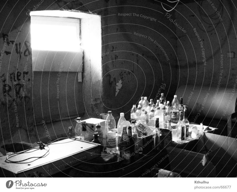 The window to the bottle cemetery Light Chaos Intoxicant Bottle Black & white photo Music Alcoholic drinks Gastronomy