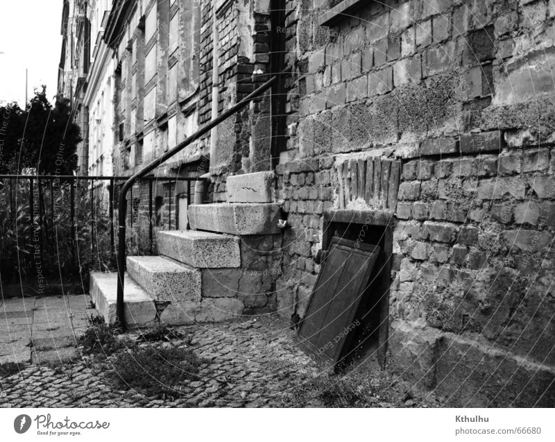Structure OST House (Residential Structure) Entrance Construction East Erfurt Brick Stairs Black & white photo Exterior shot