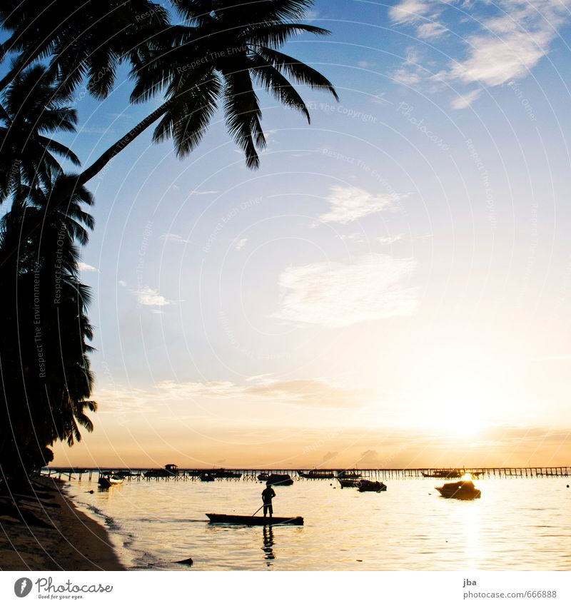 sundown Well-being Calm Vacation & Travel Tourism Far-off places Summer Summer vacation Beach Ocean Island Nature Landscape Elements Beautiful weather Indonesia