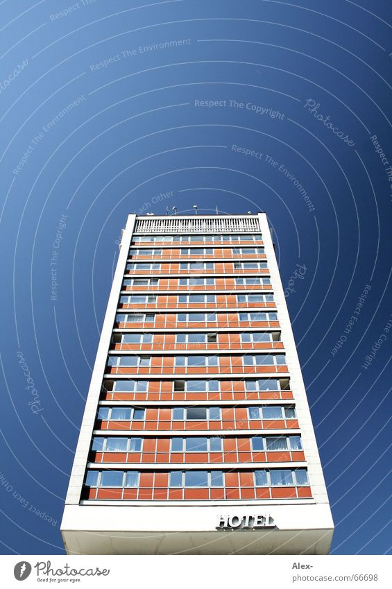 Old Sky Blue Vacation & Travel House (Residential Structure) Style Window Orange Large High-rise Tall Perspective Retro Break Stop