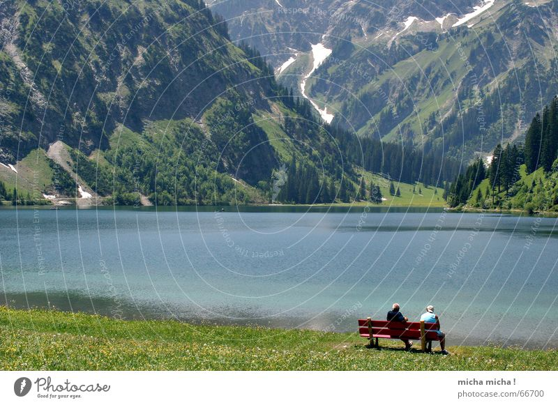 Human being Water Green Blue Calm Loneliness Relaxation Mountain Couple Lake Landscape In pairs Bench Mountain lake