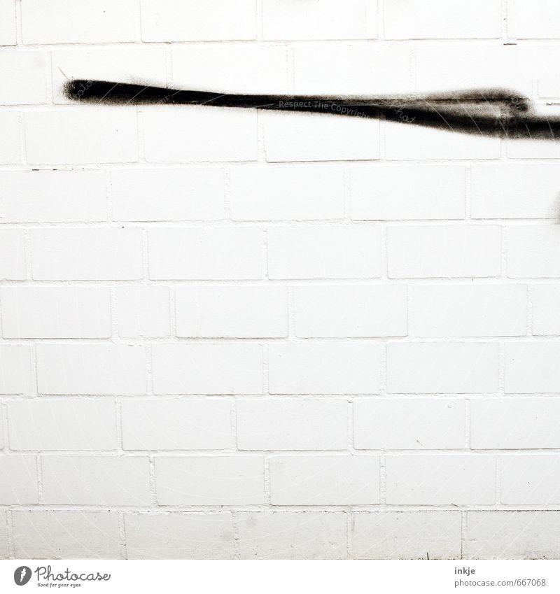 City White Black Graffiti Wall (building) Wall (barrier) Stone Line Facade Concrete Beginning Simple Stripe Sign Thin Brick
