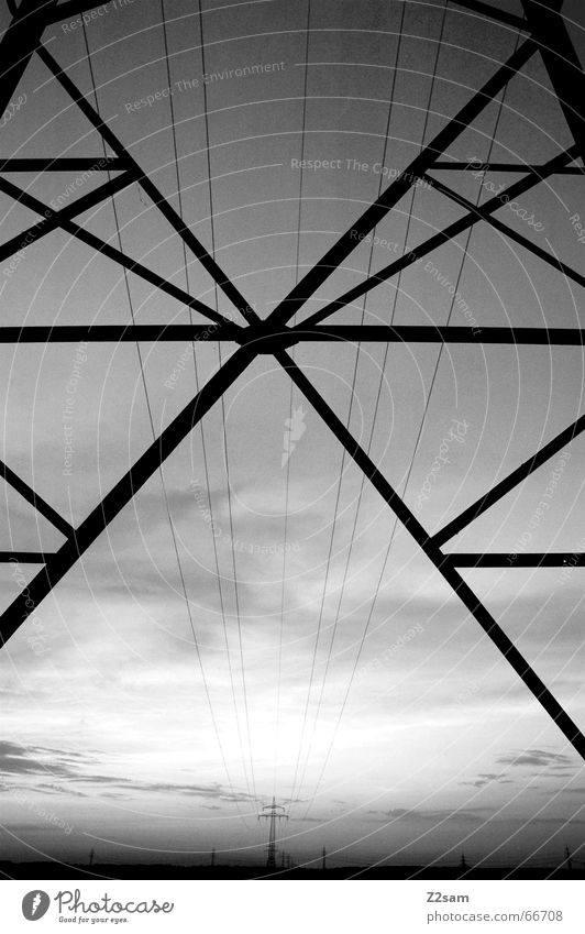 from one to the other Electricity Electricity pylon Line Field Geometry Black & white photo way Perspective Middle