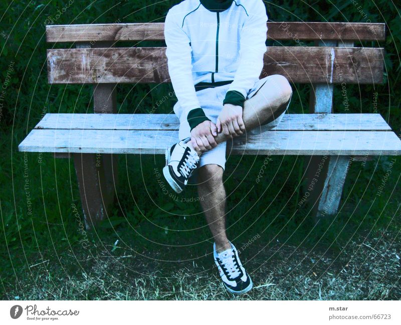 Bench Sitting #1 Hand Relaxation Footwear Pants Shorts Wood Grass Legs Cool (slang) Contrast Track-suit top Joist m.star