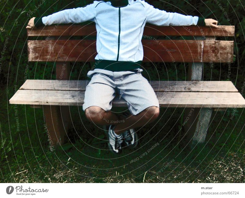 Bench Sitting #2 Hand Relaxation Footwear Pants Shorts Wood Grass Easygoing Legs Cool (slang) Contrast Track-suit top Joist m.star