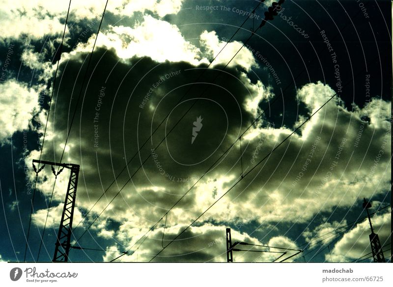 Sky Blue Clouds Power Fear Electricity Cable Threat Railroad tracks Thunder and lightning Frankfurt Evil Electricity pylon Refrigeration Scan Electrical equipment
