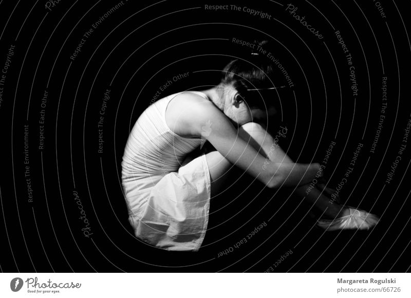 ballet dancer Ballet Girl Grief Woman Black Black & white photo Sadness Hide Dance