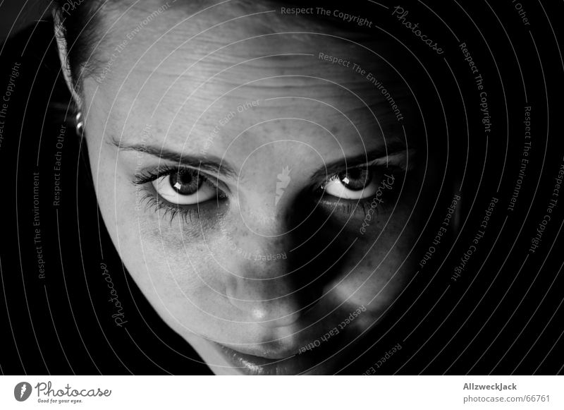 plan view Black White Portrait photograph Insecure Dark background Looking up Black & white photo naked in the face with nose Human being Wait peeping up