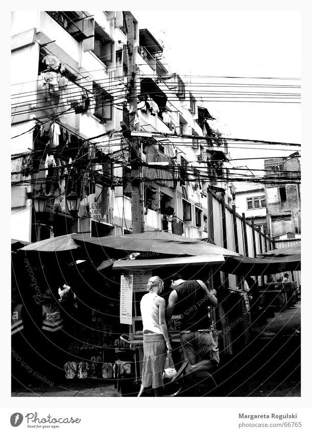Vacation & Travel Life Couple High-rise Asia Chaos Block Thailand Black & white photo Bangkok