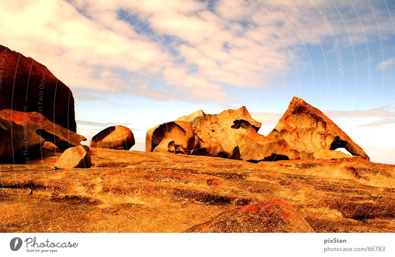 Sky Red Clouds Stone Rock Island Australia Play of colours Rock formation Kangaroo island