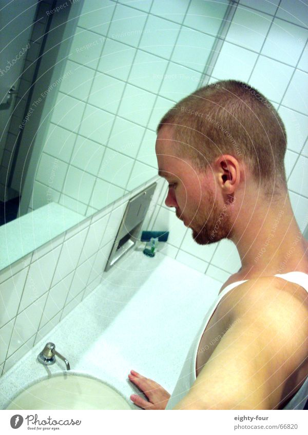 Human being White Think Blonde Toilet Tile Wash Stay Sink Soap Short-haired Undershirt