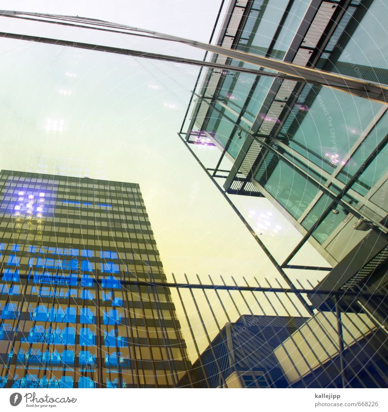 europe center Town Capital city House (Residential Structure) Building Architecture Facade Window Blue Gold Window pane Glittering Reflection Colour photo