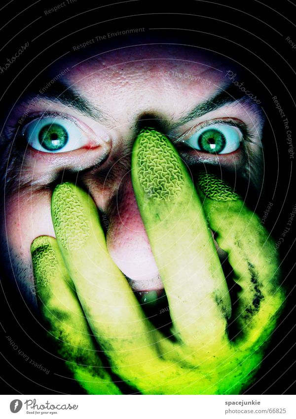 FREAK Man Evil Anger Portrait photograph Freak Fear Alarming Dark Black Crazy Green Gloves Yellow Face Looking Human being Eyes rubber glove