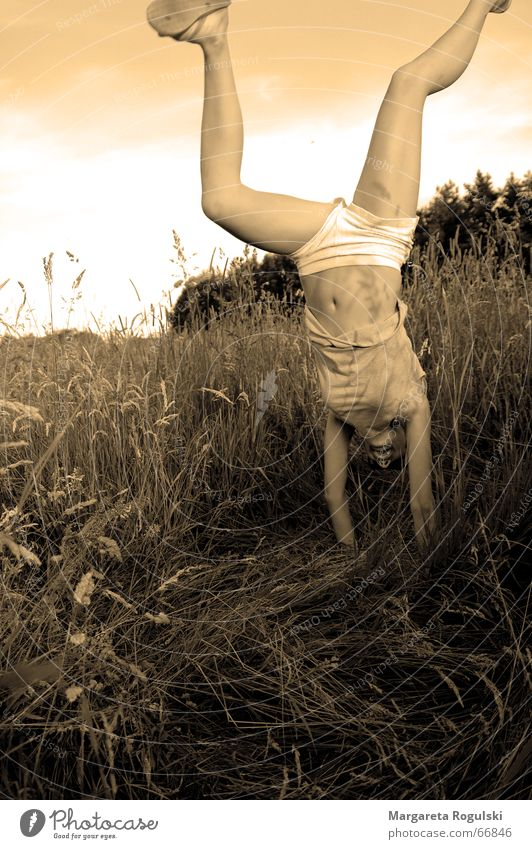 see the world from a different angle Grass Field Girl Woman Handstand Summer Cornfield Underpants Flip-flops Recklessness Joy Grain Funny Sky