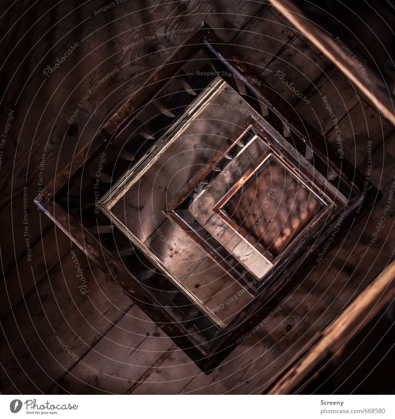 Do not fall... Tower Manmade structures Building Story Handrail Wood Sharp-edged Brown Contentment Height Fear of heights Colour photo Interior shot Deserted