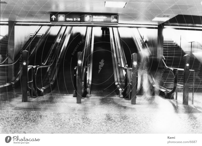 Human being Movement Black & white photo Train station Ghosts & Spectres  Escalator