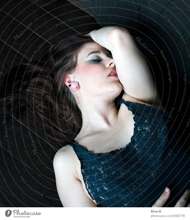 longing Young woman Youth (Young adults) 1 Human being 18 - 30 years Adults Lie Dream Beautiful Eroticism Emotions Longing Lace Lust Colour photo Interior shot