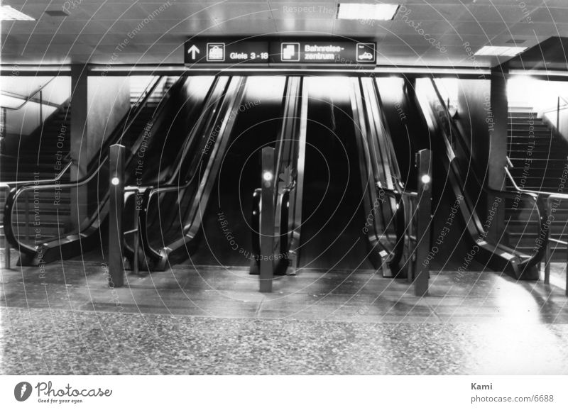 escalator Escalator Things Train station Movement Black & white photo Ghosts & Spectres  Human being