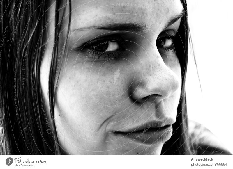 The Schnute Woman Freckles Portrait photograph Dark Skeptical Disappointment Black & white photo Face Hair and hairstyles Mouth raised eyebrow Disbelief