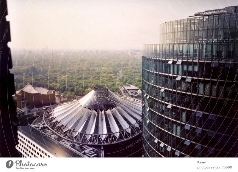 Sony Center Berlin Forest Town Potsdamer Platz Bird's-eye view High-rise Park Architecture Aerial photograph