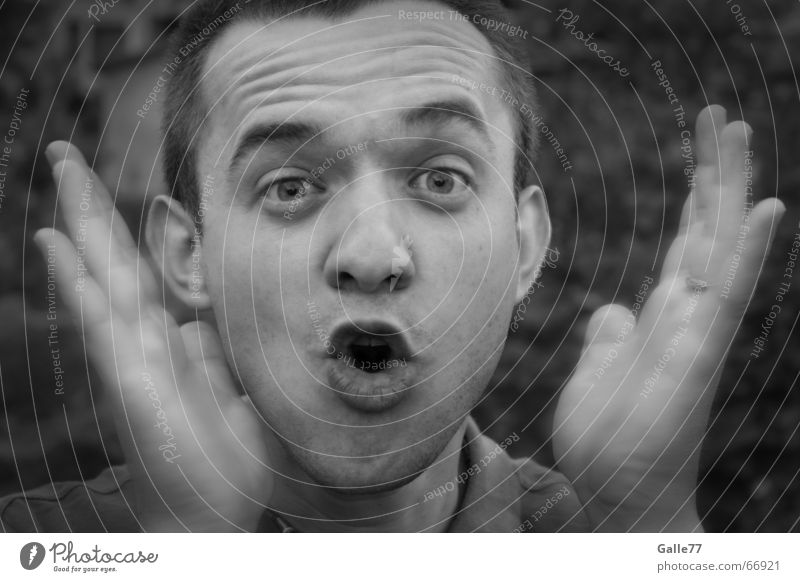 surprise Portrait photograph Man Black White Gray Lips Hand Scare Surprise Face Eyes Nose Mouth