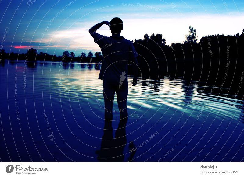 Human being Man Water Forest Lake Horizon Vantage point Swimming & Bathing Pond Dusk Swimming trunks