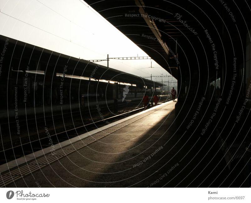 early in the morning ... Sunrise Back-light Platform Morning Biel Transport Train station
