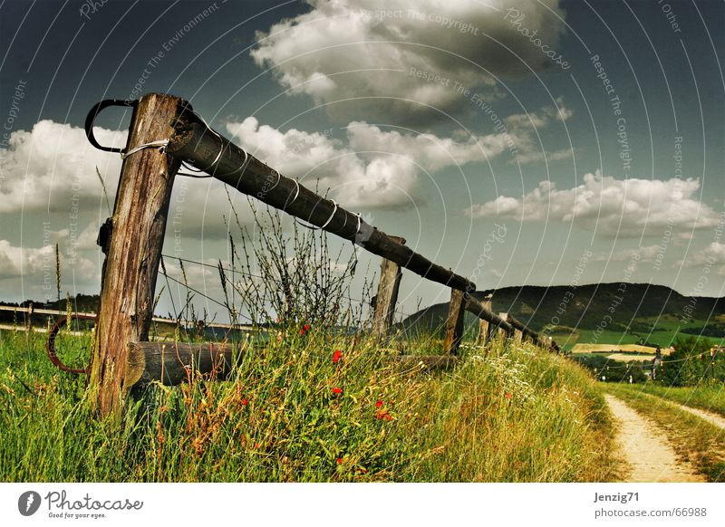 Perspective. Fence Pasture Clouds Grass Meadow Summer Field Footpath Lanes & trails Sky Mountain