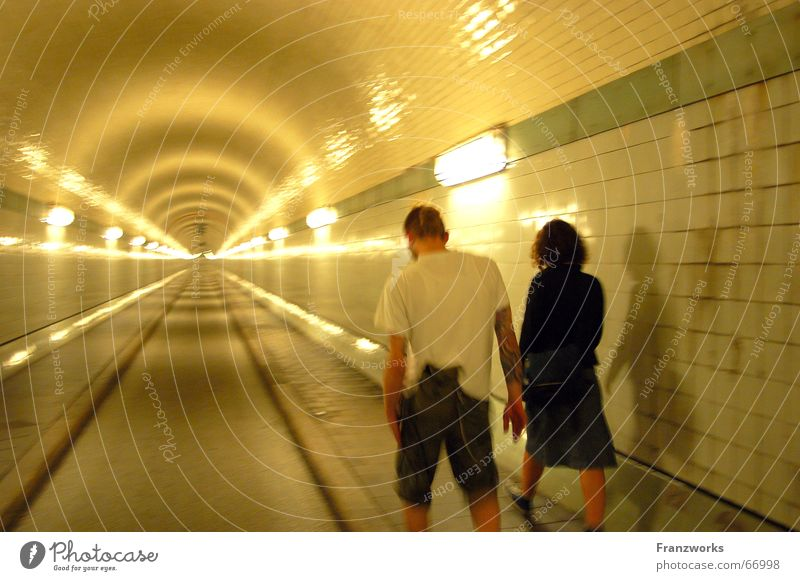 Yellow Street Dream Sadness Couple Lanes & trails Friendship In pairs Tunnel Attachment St Pauli-Elbtunnel