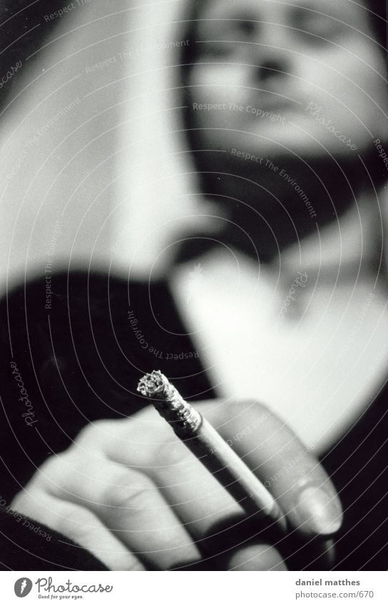 smoke sign Cigarette Woman Photographic technology Smoking Human being Black & white photo