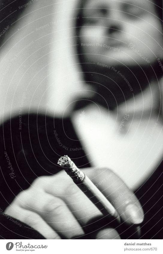 smoke sign Cigarette Woman Photographic technology Smoking Human being Black & white photo