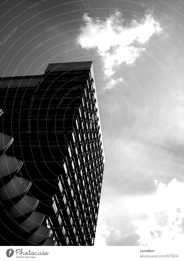 Alex Alexanderplatz Symmetry Clouds Strong Fortress Berlin Black & white photo Sun Partially visible Architecture