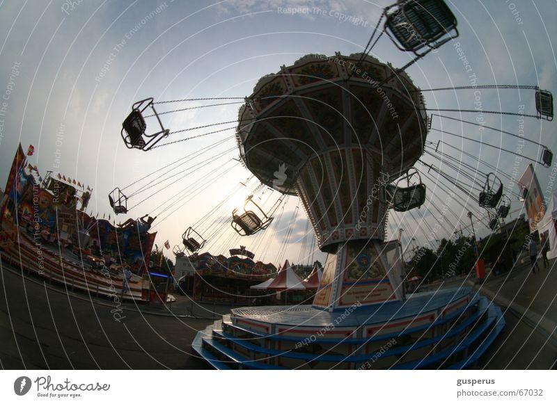 Blue Sun Joy Clouds Infancy Leisure and hobbies Trip Crazy Empty Fairs & Carnivals Bleak Carousel Fair Fairy lights Vertigo Amusement Park
