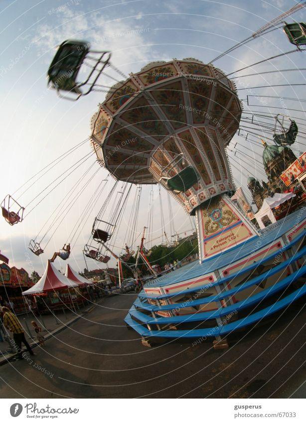 { worm two } Carousel Fairs & Carnivals Empty Fairy lights Light Clouds Vertigo Leisure and hobbies Amusement Park Crazy chain carousel dizziness Shadow Sun