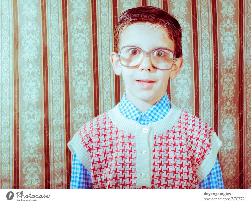 Smiling child with glasses in vintage clothes Human being Child Old White Black Love Boy (child) Small Happy Fashion Couple Lifestyle Infancy Smiling Cute Retro