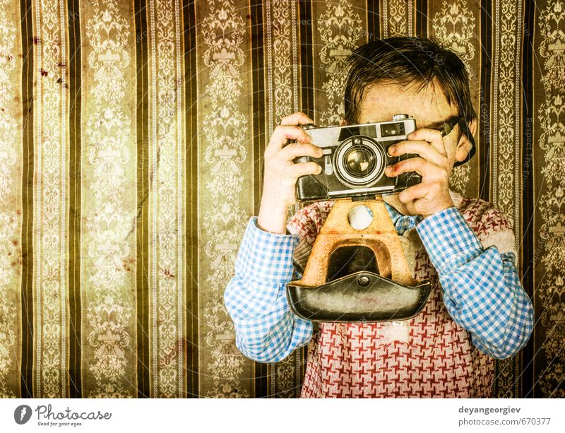 Boy with vintage camera Lifestyle Happy Child Camera Boy (child) Infancy Old Small Cute Retro White Nostalgia young Photography Caucasian Photographer kid