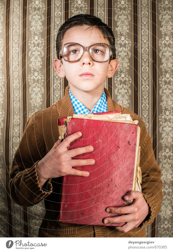 Child with glasses hold red vintage book Reading School Human being Boy (child) Father Adults Infancy Book Old Historic Retro Black White Photography people