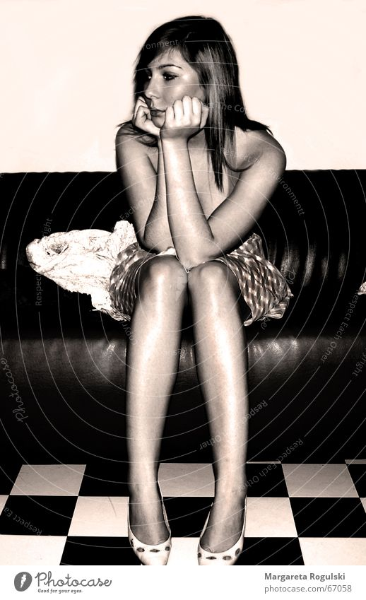 Woman Sadness Think Footwear Legs Grief Dress Sofa Dreamily Sepia