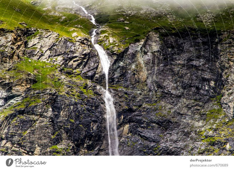 Waterfall in the mountains Environment Nature Landscape Elements Summer Moss Rock Alps Mountain Esthetic Wet Natural Emotions Brave Truth France