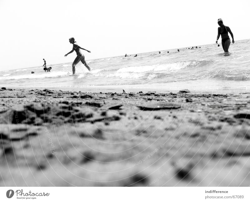 Black and Beach Summer Human being Sand sea black white wave