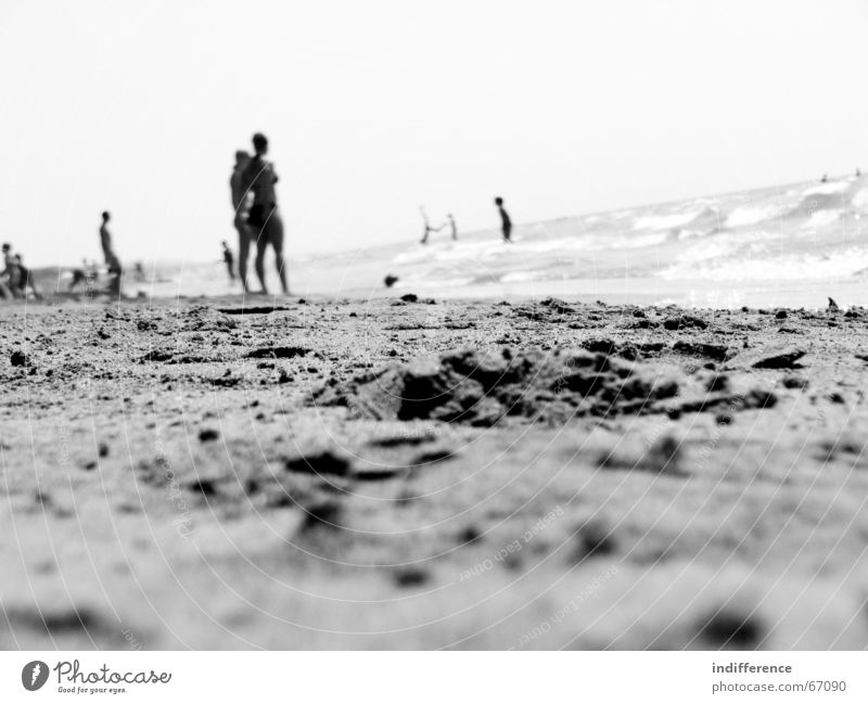Black Beach Summer Human being wave Sand black white sea