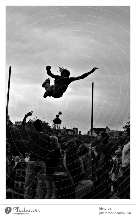 The jump to death? Jump Paris Human being Action Black & white photo skate. inline slating