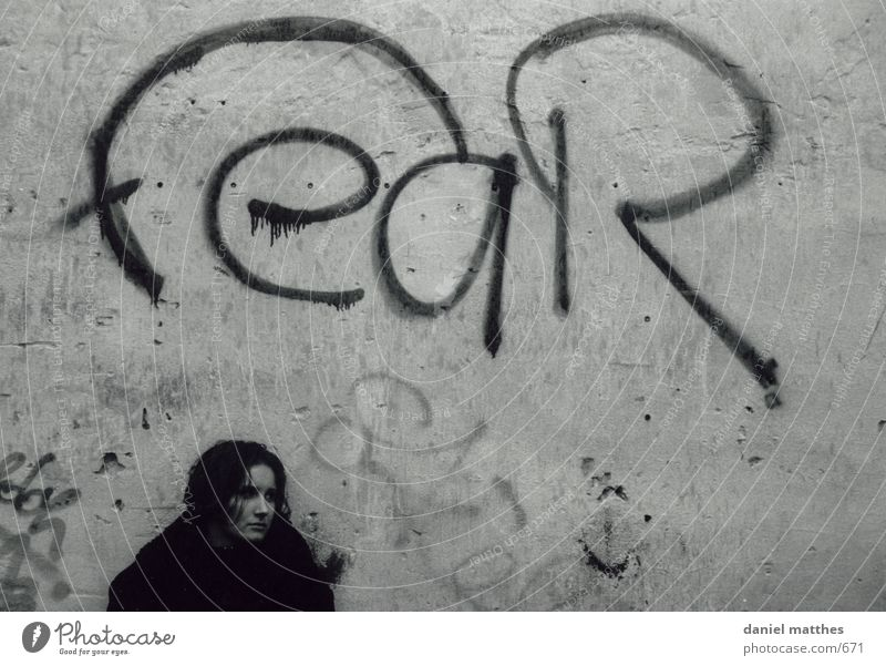 anxiety Woman Autumn Human being Graffiti black-and-white