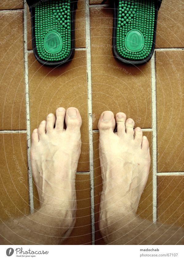 Green Summer Naked Feet Footwear Tile Massage Barefoot Pleasant Burl Duplicate Shuffle Ergonomics