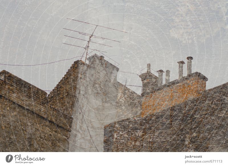 Club Double Brand Architecture Budapest Chimney Antenna Fire wall Brick Old Above Fair Surrealism Past Corner Reduplication Analog Double exposure