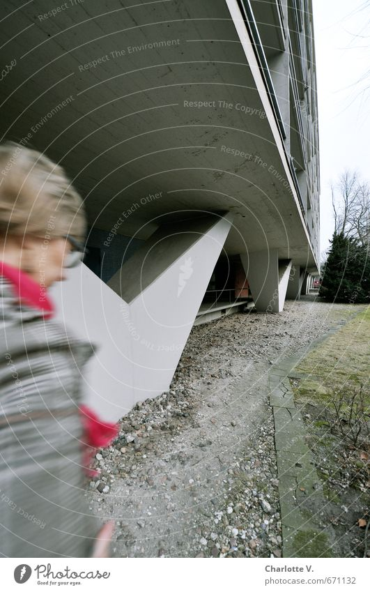 Self stragglers Human being Feminine Woman Adults Life 1 45 - 60 years Architecture Berlin Town Capital city High-rise Wall (barrier) Wall (building) Facade