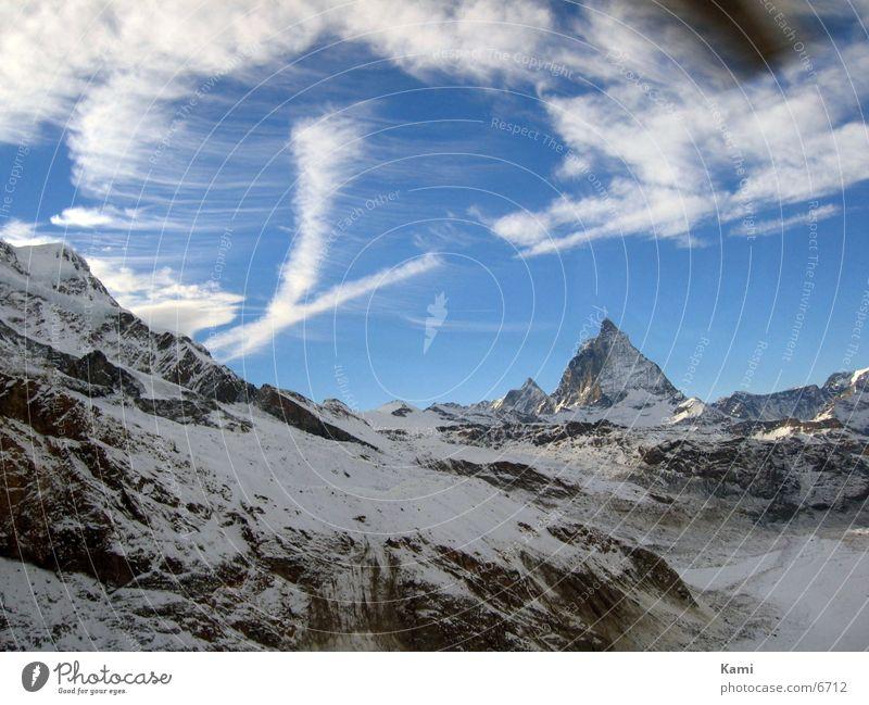 Sky Nature Clouds Snow Mountain Landscape Environment Movement Rock Tourism Europe Alps Switzerland Peak Glacier Aerial photograph